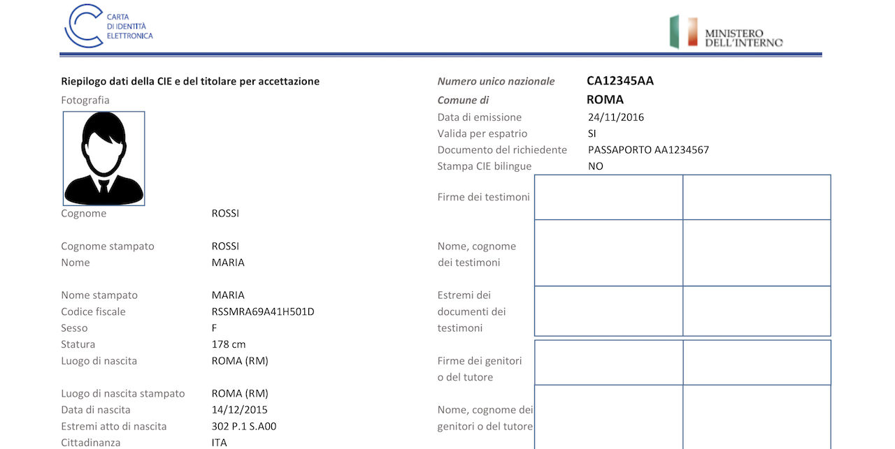 Ricevuta richiesta carta di identità elettronica